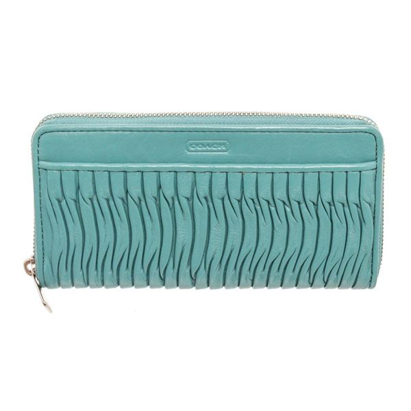 Coach Teal Gathered Leather Taylor Zippy Wallet