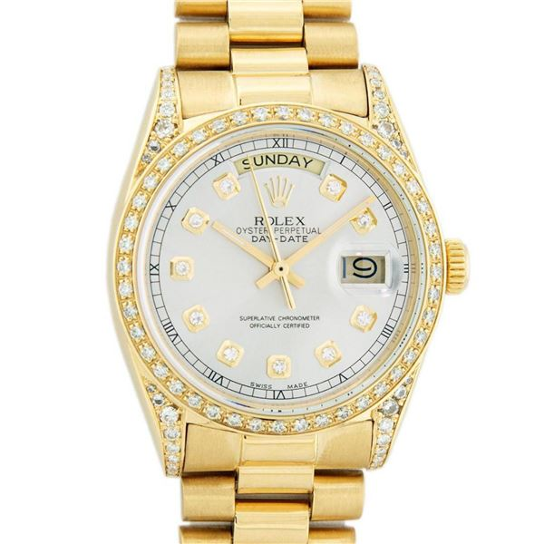Rolex Mens 18K Yellow Silver Diamond Lugs Quickset President Wristwatch With Rol