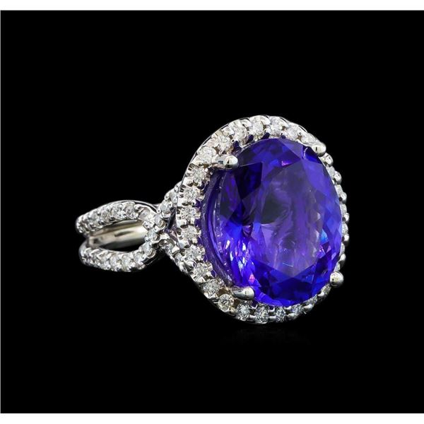 GIA Cert 8.82 ctw Tanzanite and Diamond Ring - 14KT White Gold