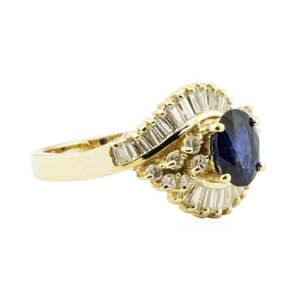 2.19 ctw Oval Brilliant Blue Sapphire And Diamond Ring - 14KT Yellow Gold