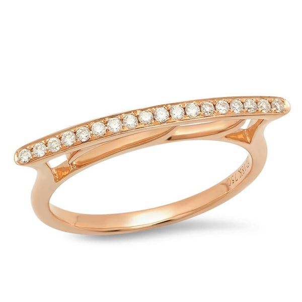14K Rose Gold 0.13CTW Diamond Ring, (SI1/F)