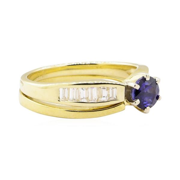 1.17 ctw Blue Sapphire and Diamond Ring Set - 14KT Yellow Gold
