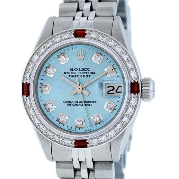 Rolex Ladies Stainless Steel Sky Blue Diamond & Ruby Oyster Perpetual Datejust W