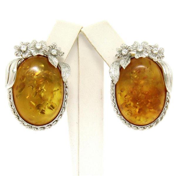 Vintage 18k White Gold Large Oval Amber Diamond Omega Earrings w/ Flower Etching