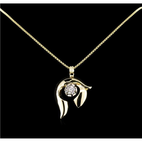 0.86 ctw Diamond Pendant With Chain - 14KT Two-Tone Gold
