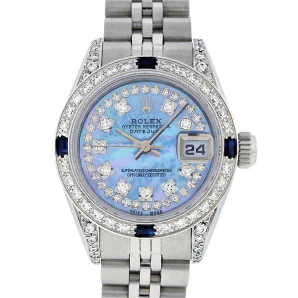 Rolex Ladies Stainless Steel Quickset Blue MOP Diamond Lugs Datejust Wristwatch