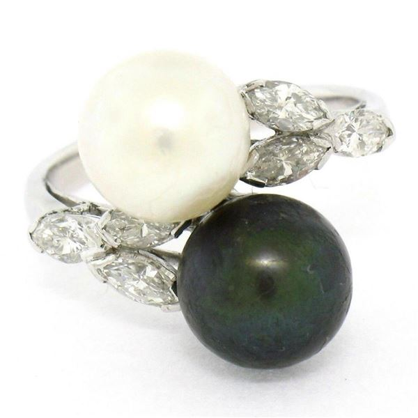 Solid Platinum Tahitian Black White Pearl Marquise Diamond Bypass Cocktail Ring