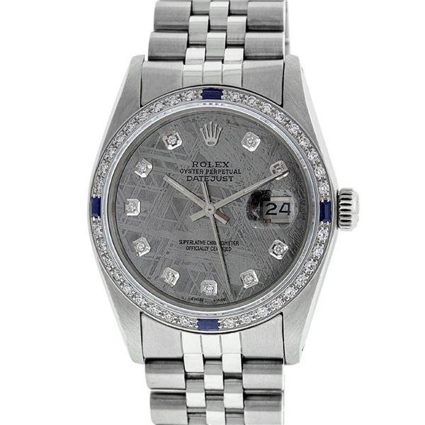 Rolex Mens Stainless Steel Meteorite Diamond And Sapphire Datejust Wristwatch 36