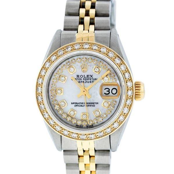 Rolex Ladies 2 Tone MOP String Diamond Oyster Perpetual Datejust Wristwatch