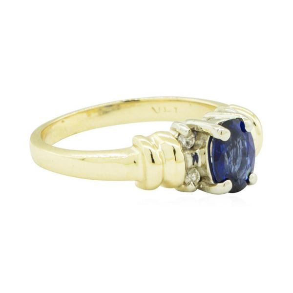 1.00 ctw Blue Sapphire and Diamond Ring - 14KT Yellow and White Gold