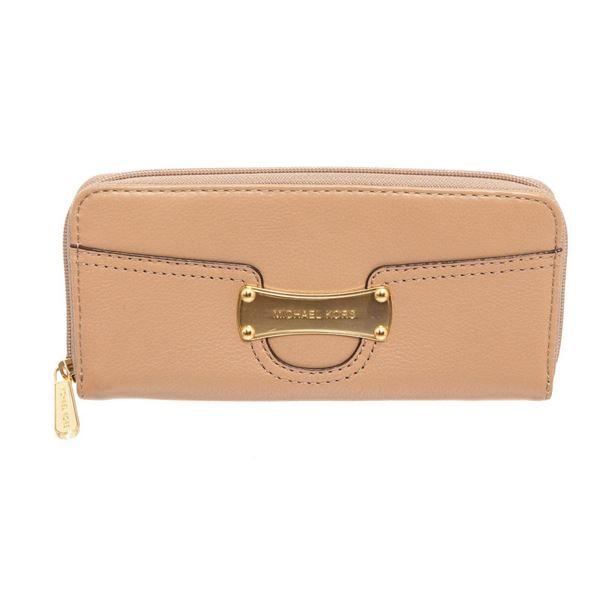 Michael Kors Tan Leather Saratoga Continental Zippy Wallet