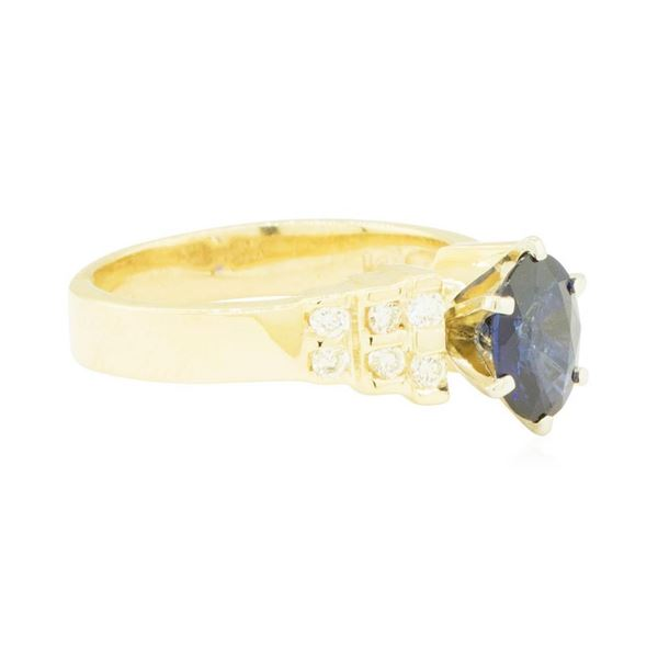 1.30 ctw Blue Sapphire and Diamond Ring - 14KT Yellow Ring