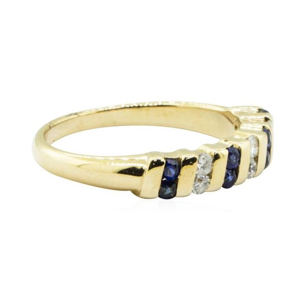 0.50 ctw Blue Sapphire and Diamond Ring - 14KT Yellow Gold
