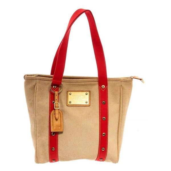 Louis Vuitton Beige Canvas Antigua Cabas MM Tote Bag