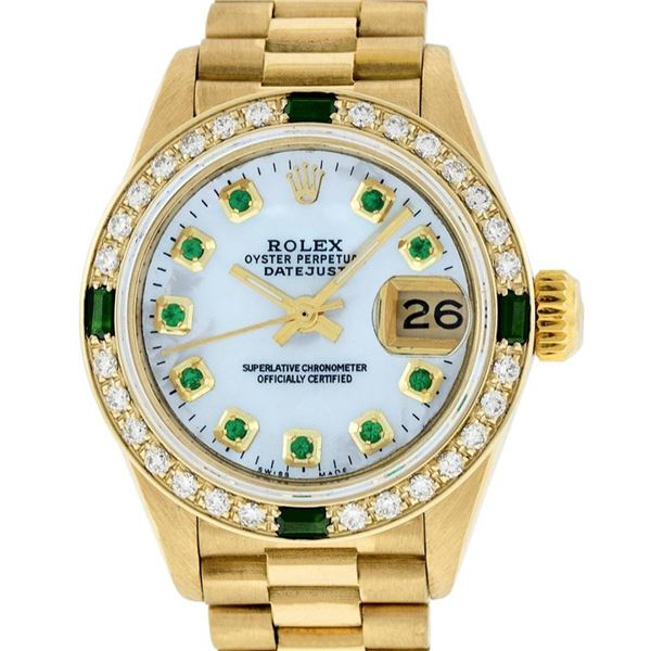 Rolex Ladies 18K Yellow Gold MOP Emerald Oyster Perpetual President Wristwatch 2
