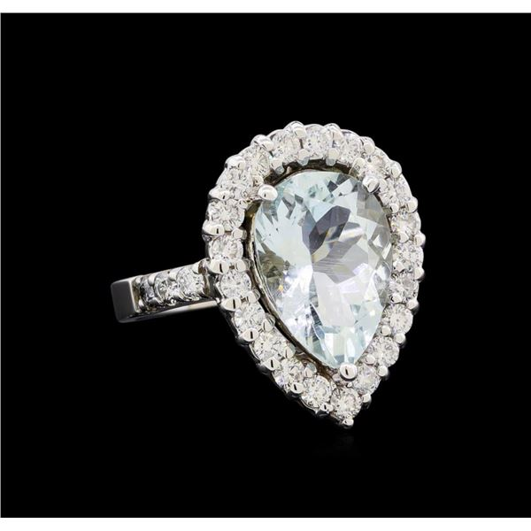 4.65 ctw Aquamarine and Diamond Ring - 14KT White Gold