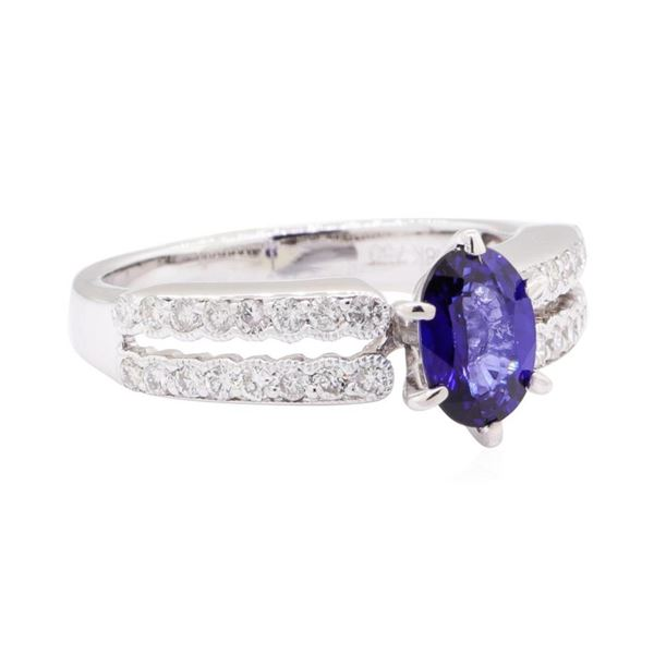 0.88 ctw Sapphire and Diamond Ring - 18KT White Gold