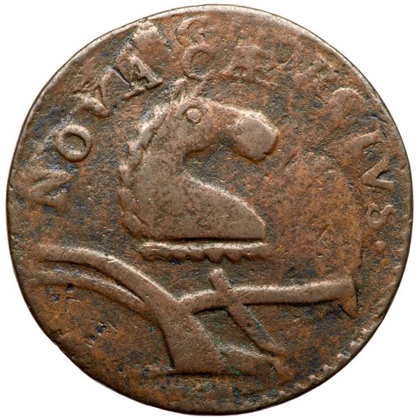 1772 Machin's Mills Halfpenny V.6-72A R6+ Overstruck by New Jersey M.56-m F12