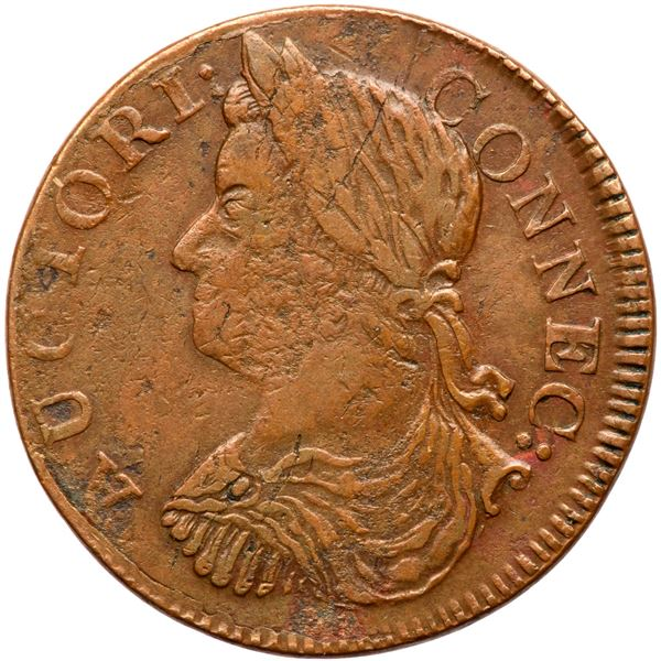 1787 Connecticut Miller 16.6-NN.2 R6 Draped Bust Left VF25