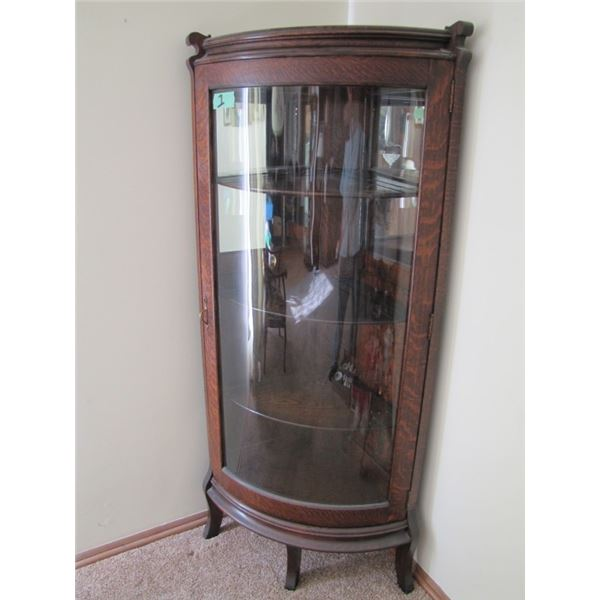 Oak curved front china cabinet, curved glass door, 4 Shelf, approximately 63 in tall by 30 in wide