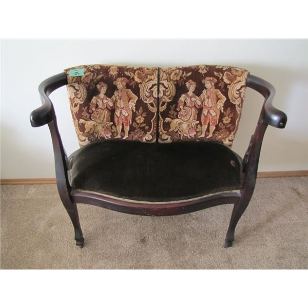 wood curved love seat / settee