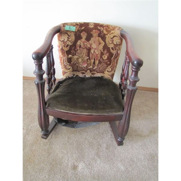 wood framed rocking chair