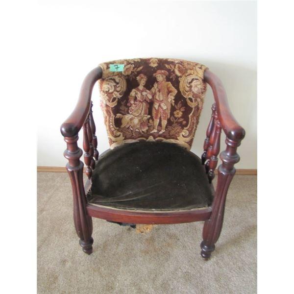 wood framed armchair