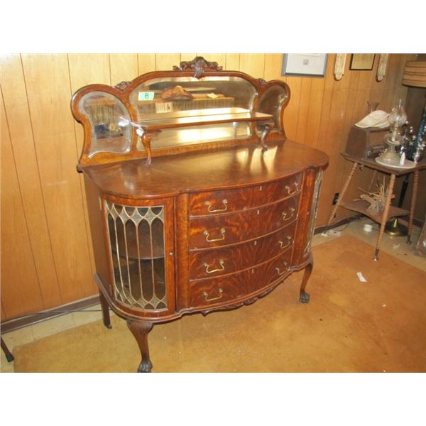 curved front Buffet with curved lead glass side doors