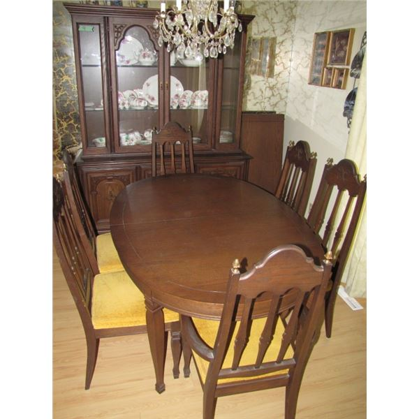 dining room table and buffet. Table is 5 feet with two 18 inch leaves which extends to 8 feet.  Chin