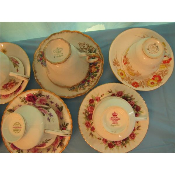 lot of 7 assorted tea cups and saucers