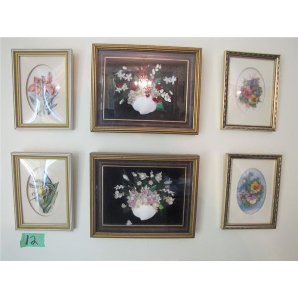 lot of 6 small floral pictures