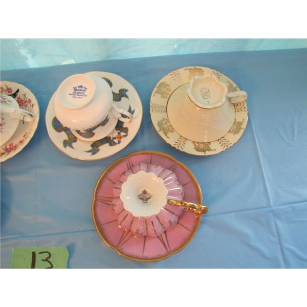 lot of 6 assorted tea cups and saucers