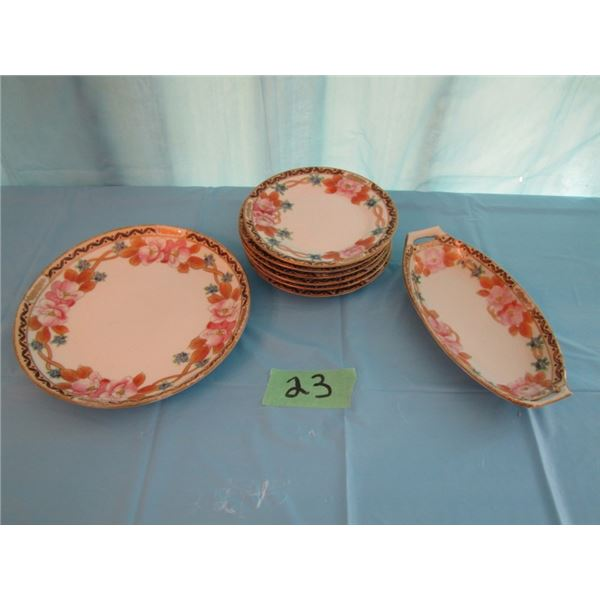 lot of eight pieces of hand-painted Nippon