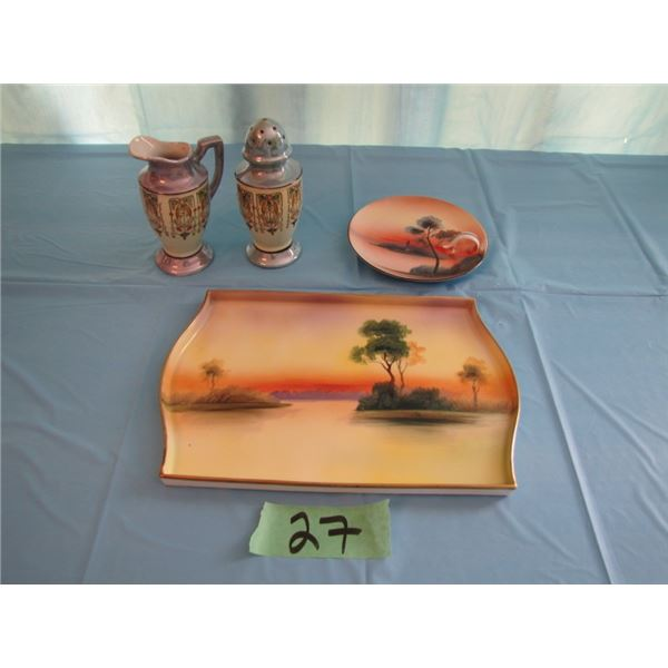 hand-painted Nippon tray, Noritake finger plate, hand- painted sugar Shaker and creamer