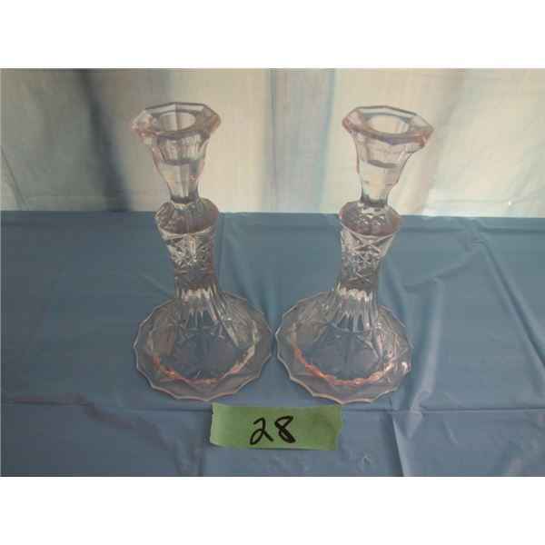 set of pinwheel Crystal candelabra