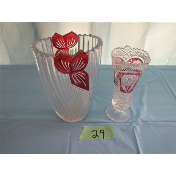 set of two vases with cranberry highlights
