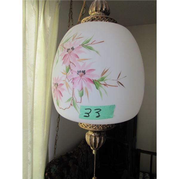 hanging swag lamp pink flower design