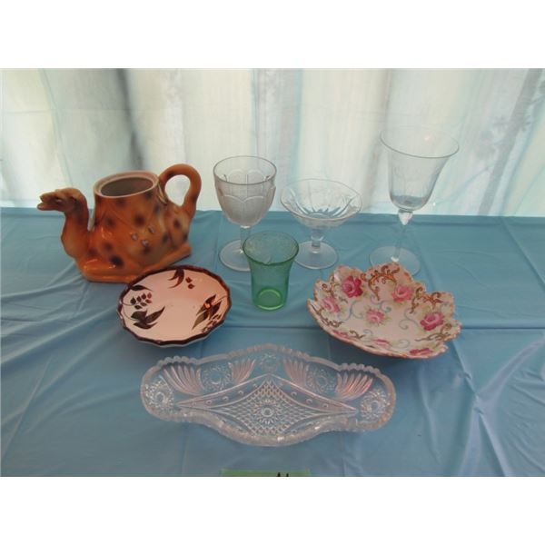 lot of miscellaneous glassware some chipped no lid for teapot