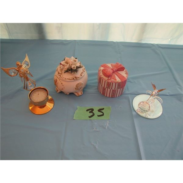 lot with two jewellery boxes hummingbird and Angel