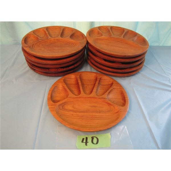 Teak serving plates 11 pieces