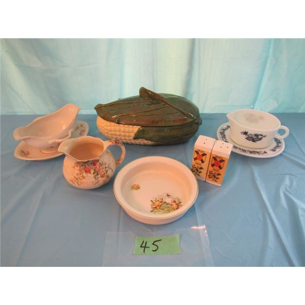 lot with baby dish - chipped - gravy boat excetera