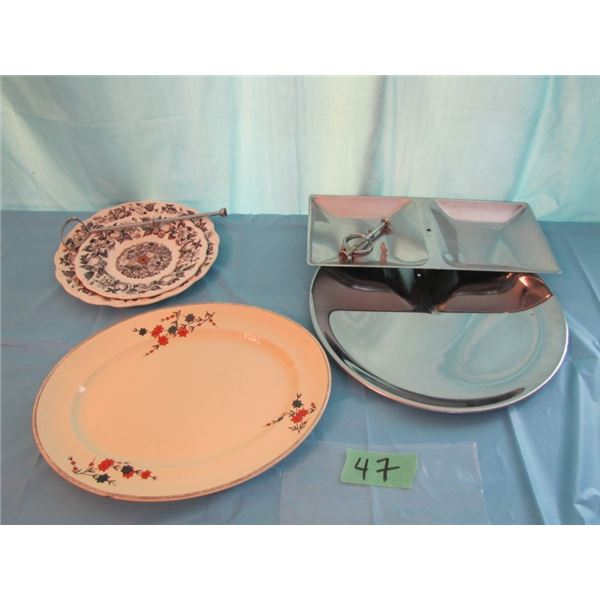 lot with serving platter and dainty trays