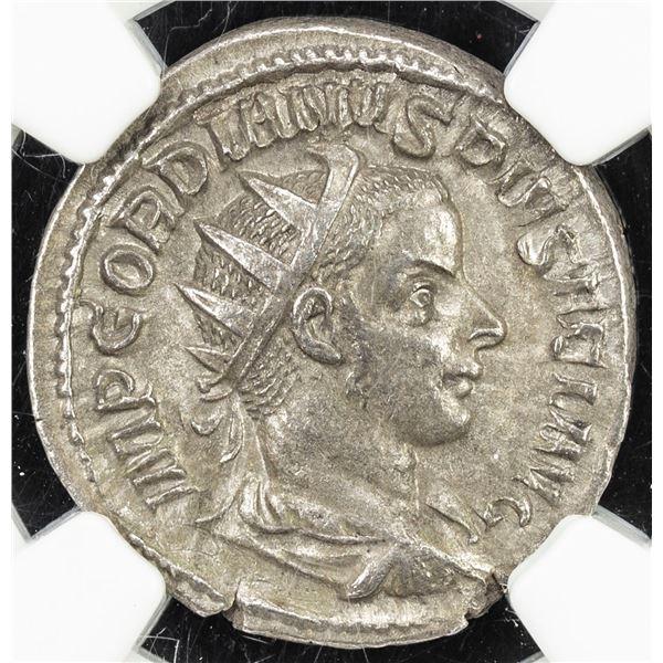 ROMAN EMPIRE: Gordian III, 238-244 AD, AR antoninianus, ND (AD 241-3). NGC AU