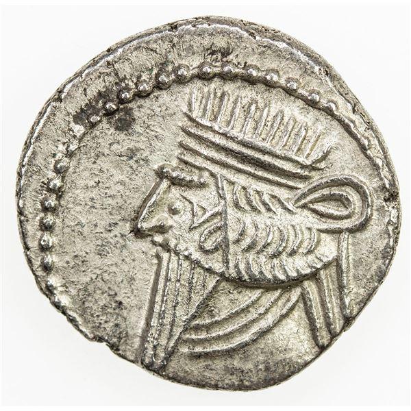 PARTHIAN KINGDOM: Vologases III, AD 105-147, AR drachm (3.38g), Ekbatana. EF