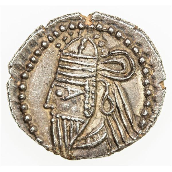 PARTHIAN KINGDOM: Vologases VI, AD 208-228, AR drachm (3.60g), Ekbatana. EF
