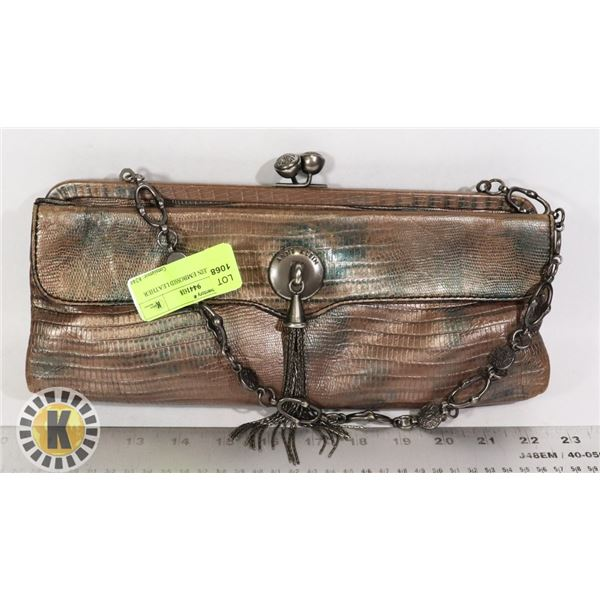 ANNE KLEIN EMBOSSED LEATHER CLUTCH