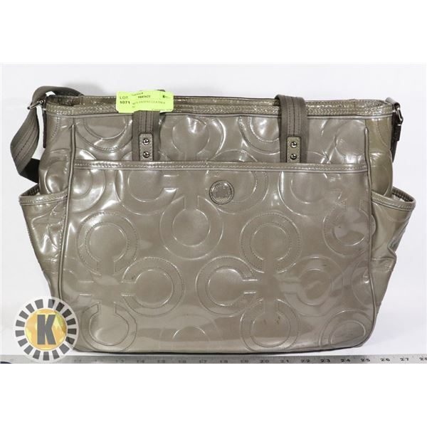 COACH GREY PATENT LEATHER BRIEFCASE