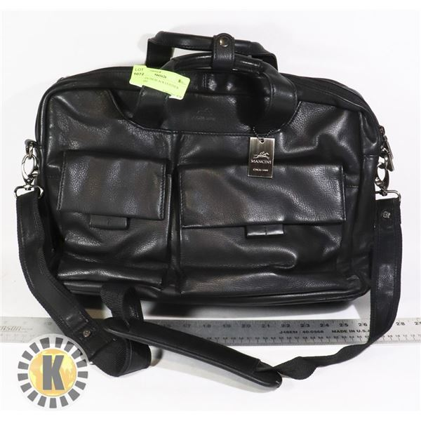 NEW MANCINI BLACK LEATHER BRIEFCASE
