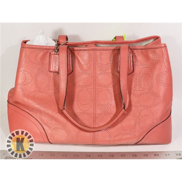 COACH LASER PERF SALMON LEATHER BAG