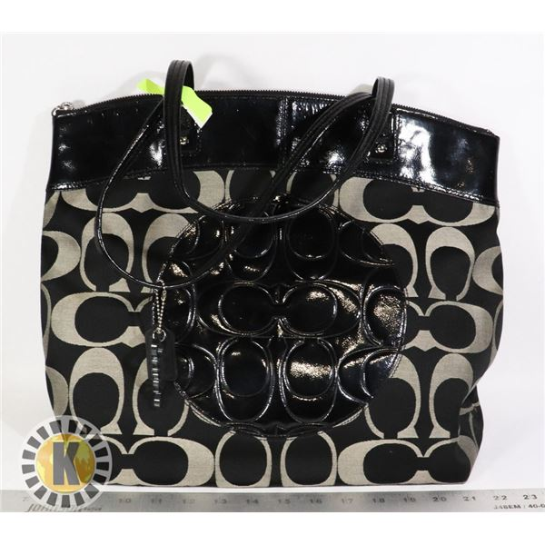 COACH BLACK LEATHER & GREY CANVAS TOTE